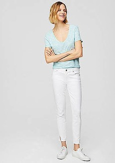 LOFT Modern Twist Seam Skinny Jeans in White