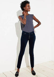 LOFT Modern Velvet Button Fly Skinny Jeans in Black