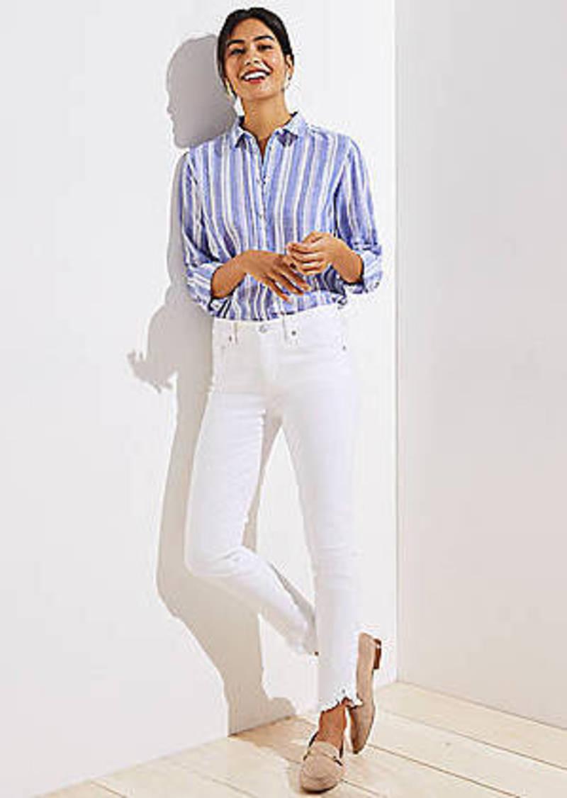 Wrap Cuff Slim Pocket Skinny Jeans in White