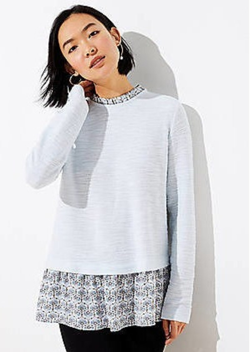 LOFT Mosaic Boucle Mixed Media Sweatshirt