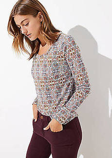 LOFT Mosaic Long Sleeve Shirttail Tee