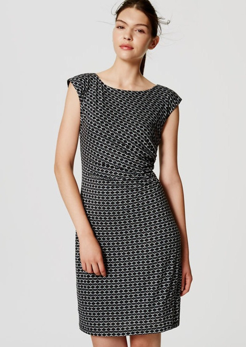 LOFT Mosaic Side Shirred Dress