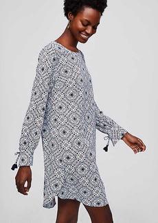 LOFT Mosaic Tassel Cuff Shirtdress