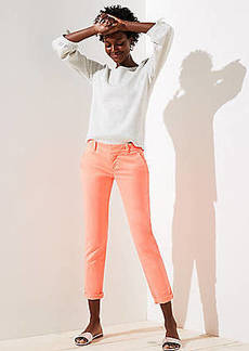 LOFT Neon Cuffed Girlfriend Chinos