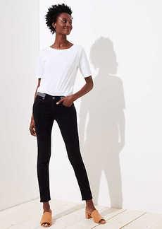 LOFT Modern Striped Waist Skinny Jeans in Washed Black
