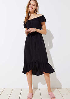 Off The Shoulder Button Down Midi Dress