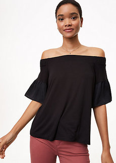 Off The Shoulder Flounce Sleeve Top