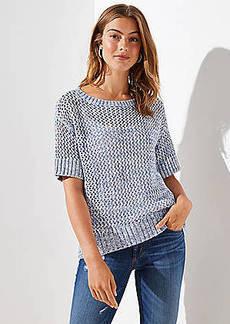 LOFT Open Stitch Short Sleeve Sweater