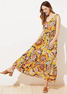 LOFT Paisley Floral Tie Waist Maxi Dress