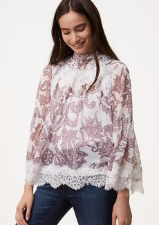 LOFT Paisley Lace Bell Sleeve Blouse