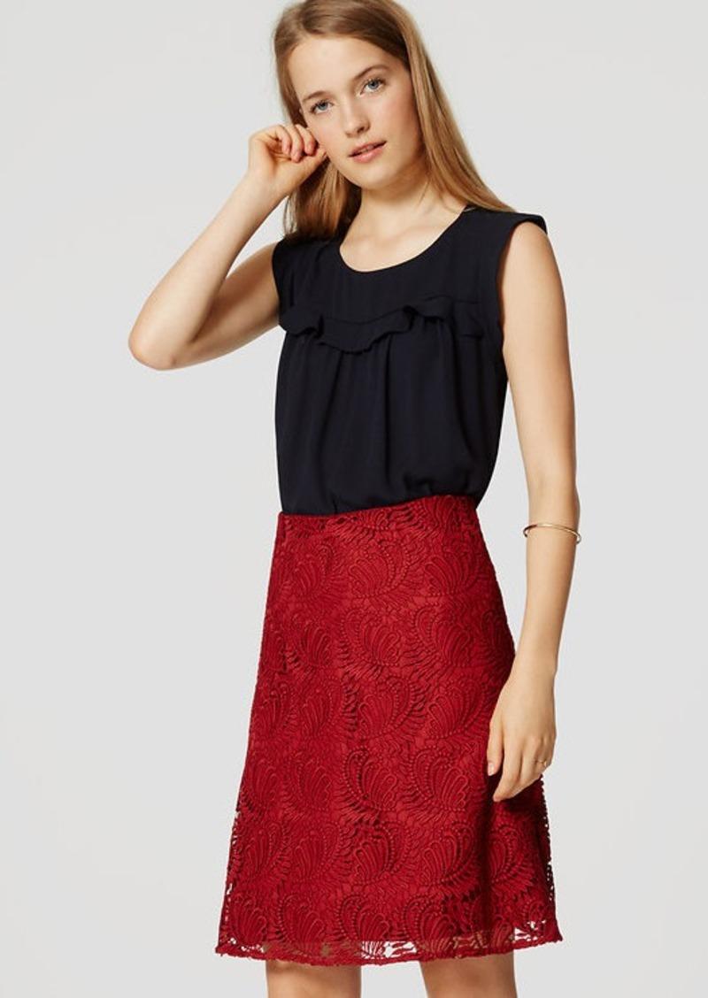 LOFT Paisley Lace Flare Skirt