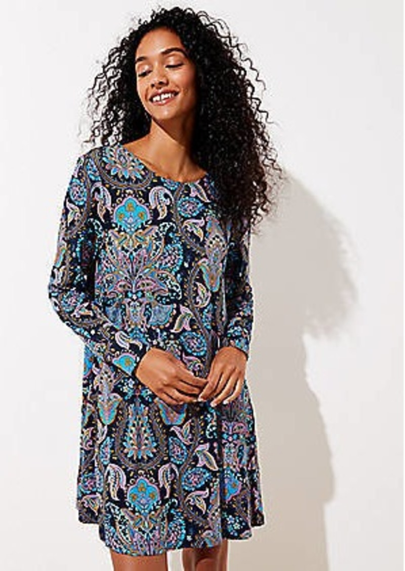 LOFT Paisley Long Sleeve Swing Dress
