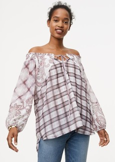 LOFT Paisley Plaid Off The Shoulder Blouse