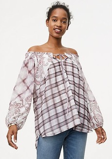 Paisley Plaid Off The Shoulder Blouse
