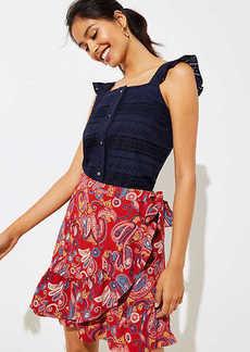 LOFT Paisley Ruffle Wrap Skirt
