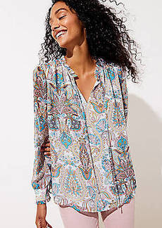 LOFT Paisley Shirred Tie Neck Blouse