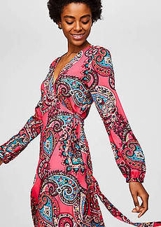 LOFT Paisley Wrap Midi Dress