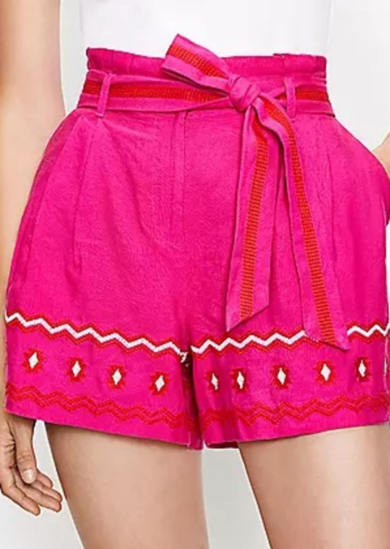 LOFT Paperbag Pull On Shorts in Embroidered Linen Blend