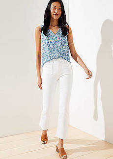 LOFT Patch Pocket High Rise Flare Crop Jeans in White