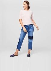 Loft patchwork boyfriend jeans in classic mid indigo wash abv3a39c9f5 a