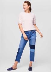 Loft patchwork boyfriend jeans in classic mid indigo wash abvaa88691e a