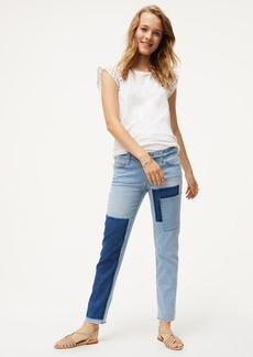 LOFT Patchwork Boyfriend Jeans in Mid Indigo Wash