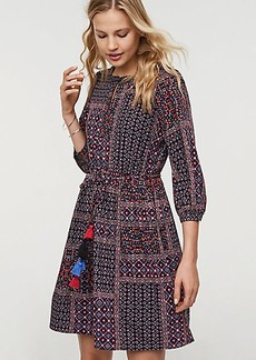 Patchwork Tassel Tie Waist Dress