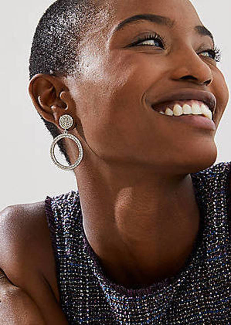LOFT Pave Circle Drop Earrings