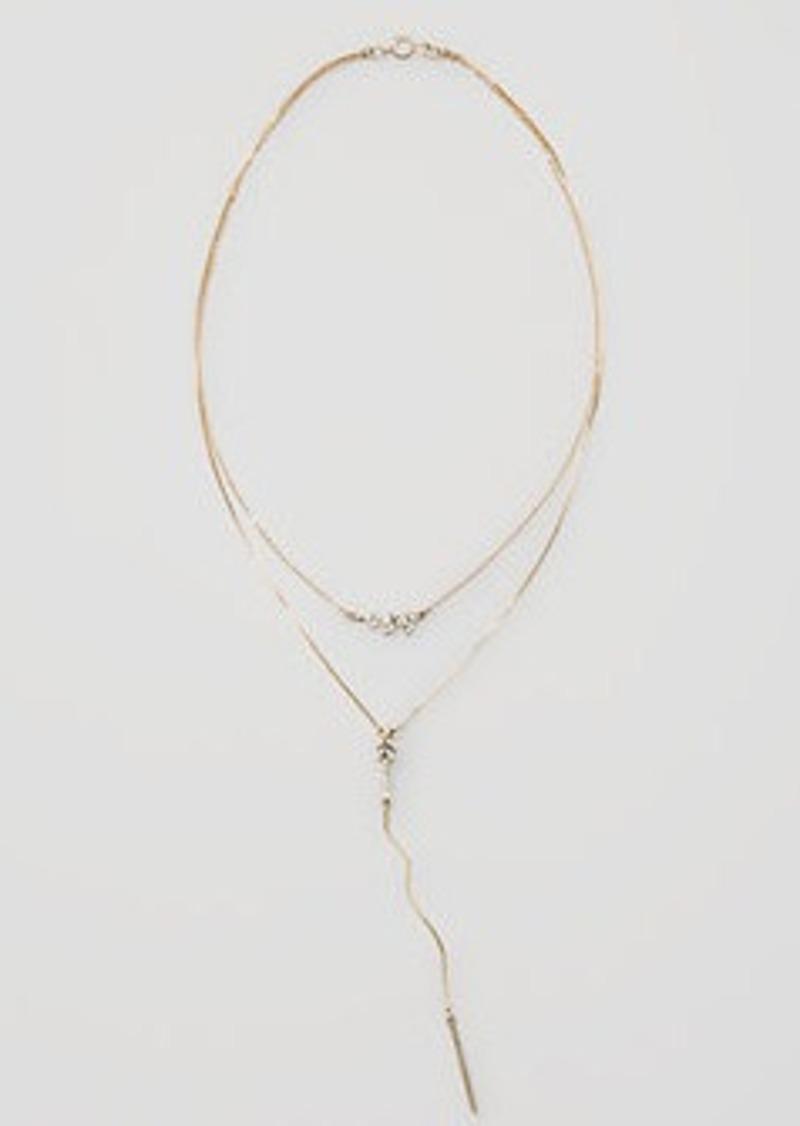 LOFT Pave Leaf Lariat Necklace