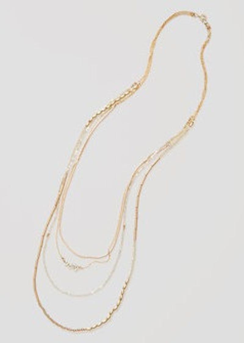 LOFT Pave Leaf Multistrand Necklace