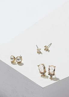 LOFT Pearlized Crystal Stud Earring Set