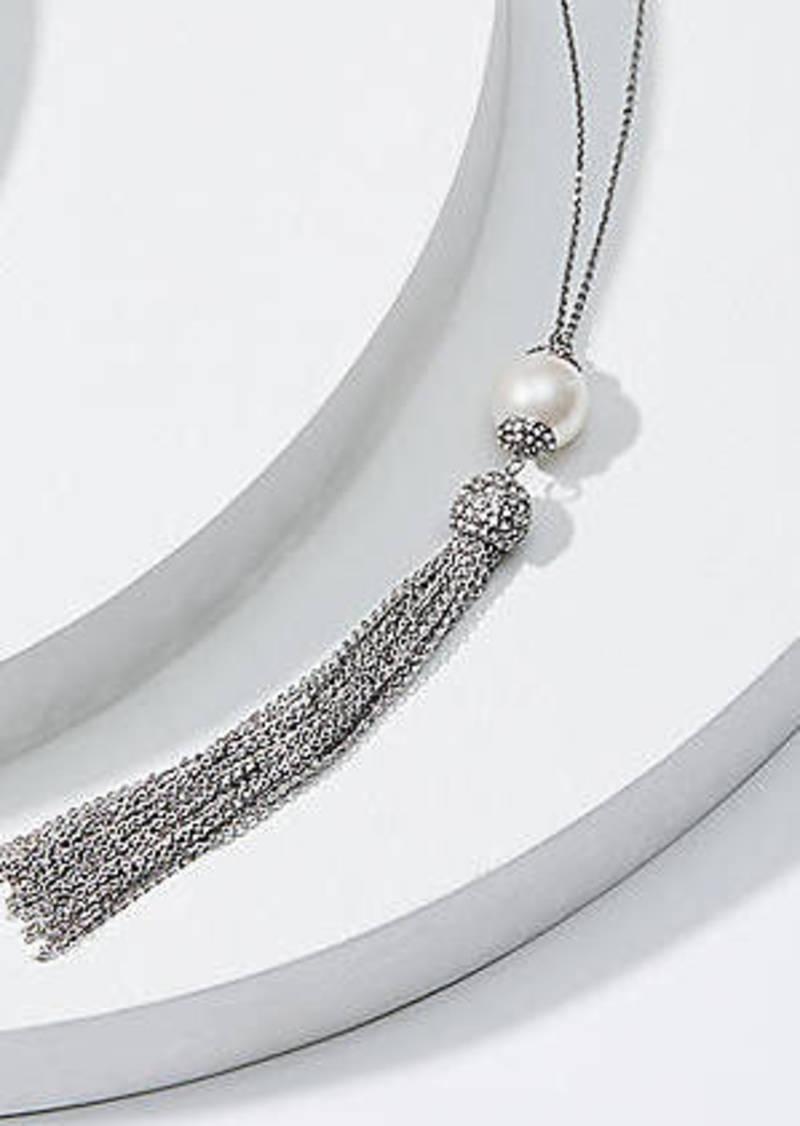 LOFT Pearlized Crystal Tassel Necklace