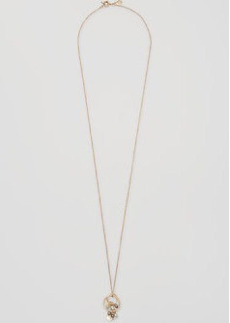 LOFT Pearlized Disc Pendant Necklace
