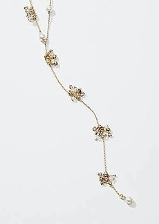LOFT Pearlized Flower Y Necklace