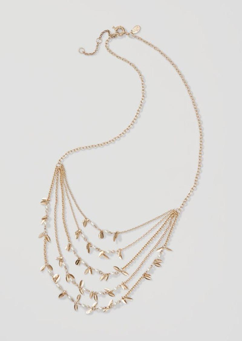 LOFT Pearlized Leaf Multistrand Necklace