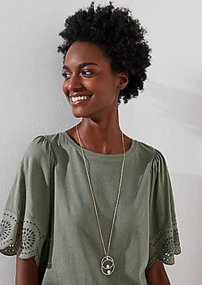 LOFT Pearlized Linked Pendant Necklace