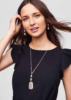 LOFT Pearlized Stone Pendant Necklace