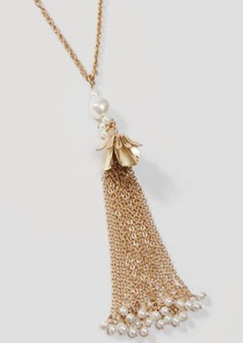 LOFT Pearlized Tassel Necklace
