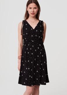 Petaled Shoulder Tie V-Neck Dress