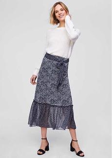 LOFT Petite Blossomed Tie Waist Midi Skirt