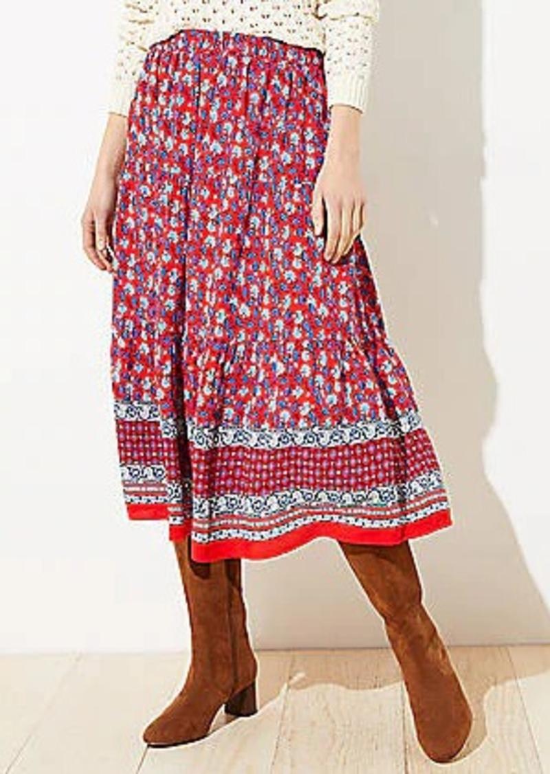 LOFT Petite Border Floral Tiered Midi Skirt