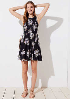 LOFT Petite Bouquet Smocked Flare Dress