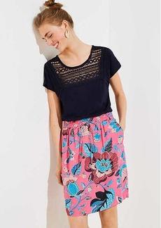 LOFT Petite Butterfly Garden Pocket Drawstring Skirt