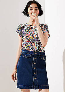 LOFT Petite Button Denim Skirt