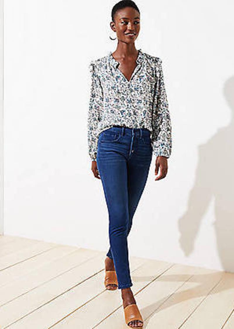 LOFT Petite Button Fly Skinny Jeans in Refined Blue Wash
