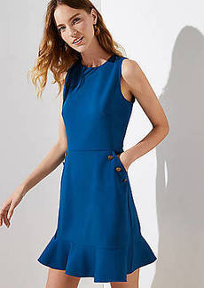LOFT Petite Button Pocket Flounce Dress