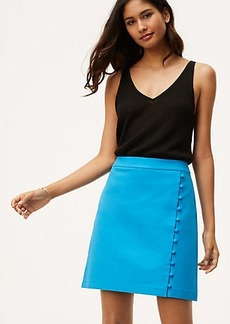 Petite Button Trim Wrap Skirt