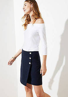 LOFT Petite Button Wrap Skirt
