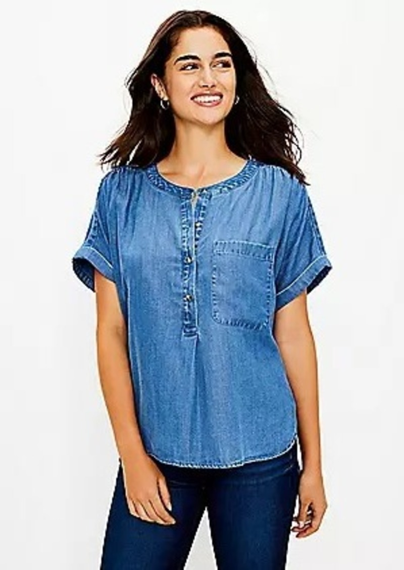 LOFT Petite Chambray Henley Shirt