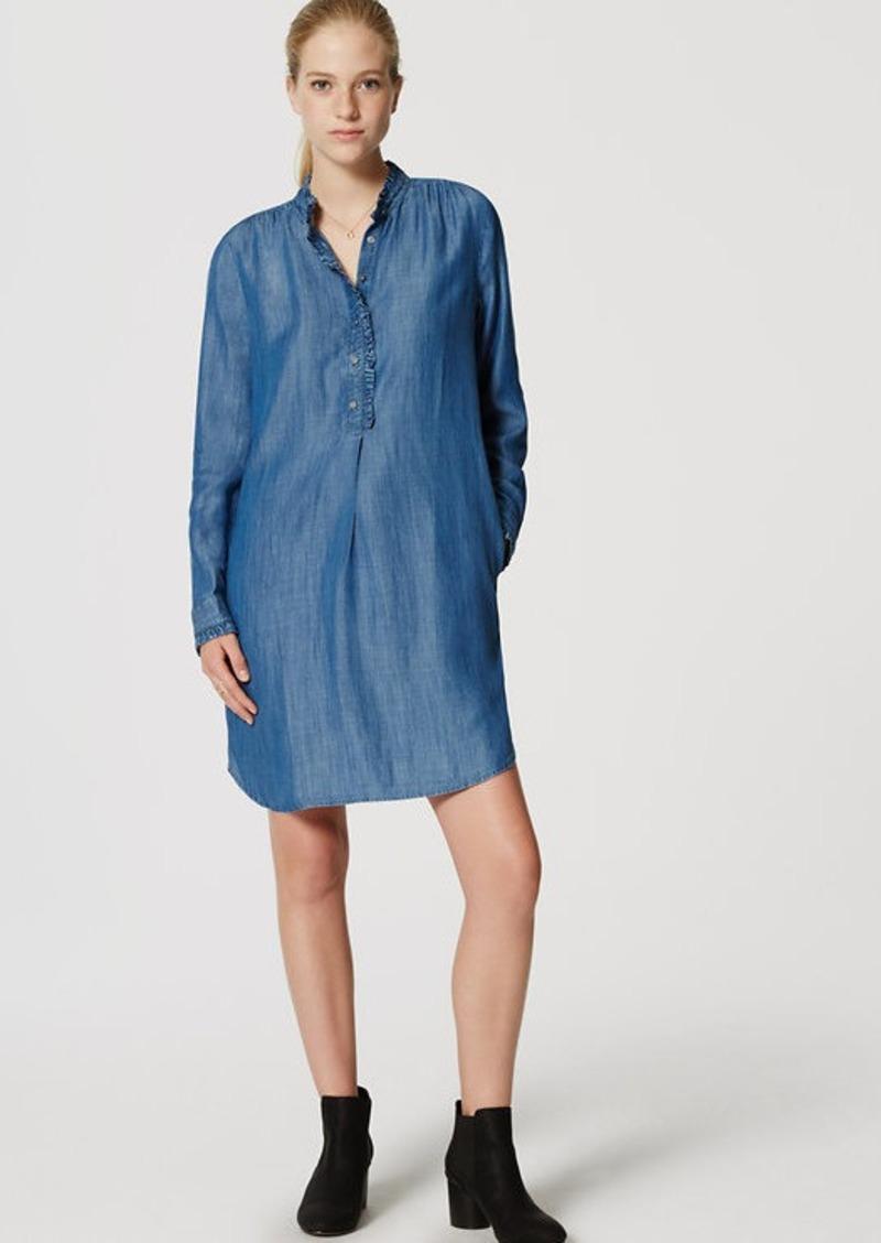 c73d2d0ee80a0d LOFT Petite Chambray Ruffle Shirtdress | Dresses